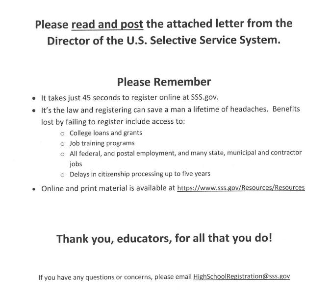 Selective Service Highland High School